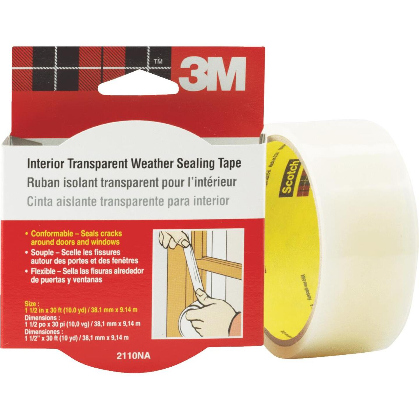 3M 1-1/2 In. x 30 Ft. Clear Weatherseal Tape Image 4