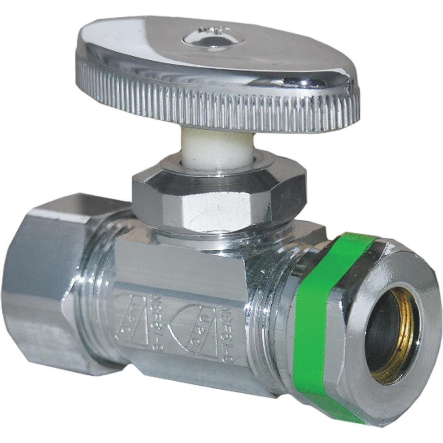 Lasco 5/8 In. Comp Inlet x 1/2 In. IP S-J Outlet Brass Straight Stop Valve Image 1