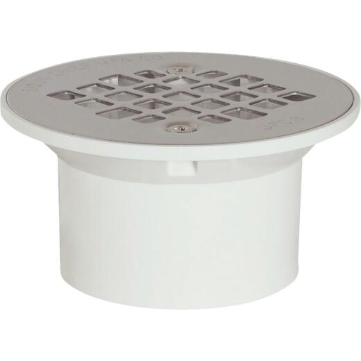 Sioux Chief 3 In. x 4 In. PVC/Stainless Steel Screw Floor Drain