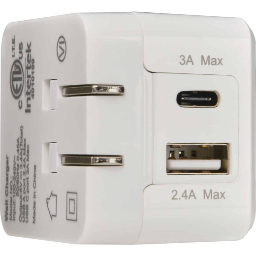 RCA 1 USB-A & 1 USB-C White Wall Charger