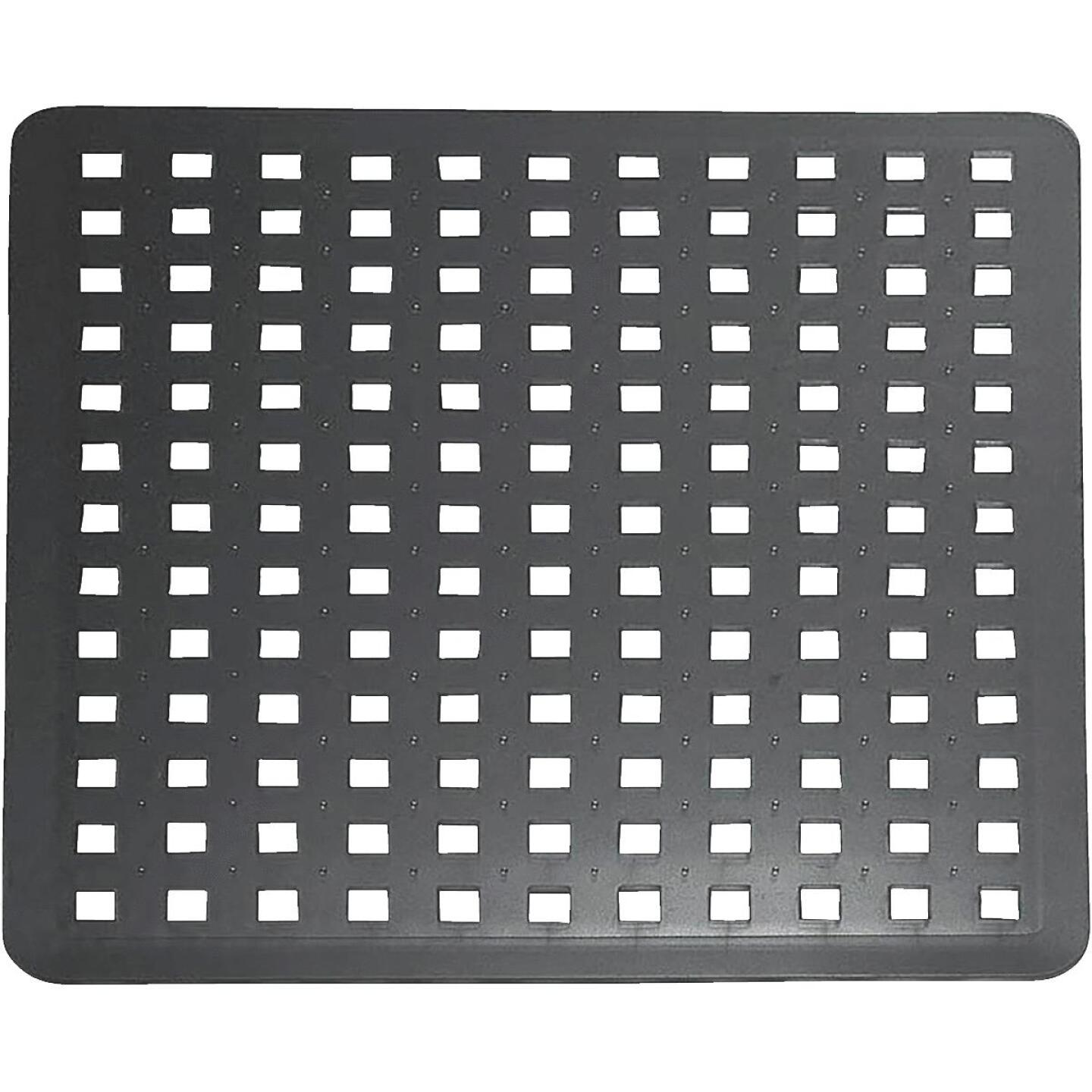 iDesign Euro 11 In. x 12.5 In. Black Plastic Sink Mat Image 1